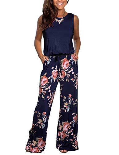 DAMISSLY Women's Floral Sleeveless Round-Neck Loose Plain Casual Wide Leg Pant Jumpsuit Rompers with Pockets (S, Navy)