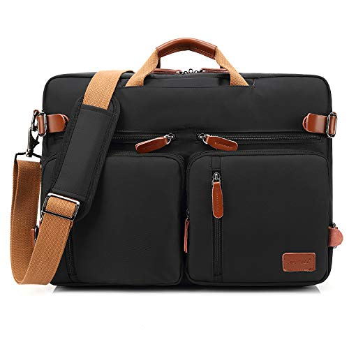 Convertible Computer Briefcase - CoolBELL Convertible Backpack Messenger Bag Shoulder Bag Laptop Case Handbag Business Briefcase Multi-Functional Travel Rucksack Fits 17.3 Inch Laptop for Men/Women (Black)