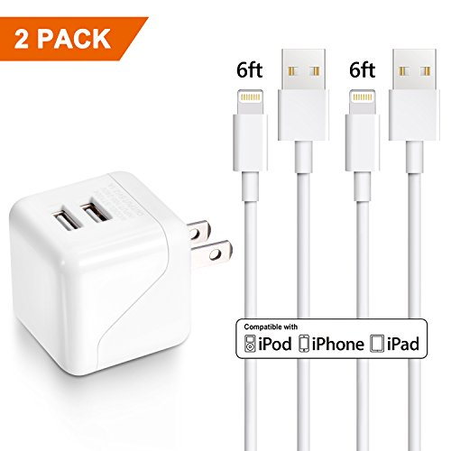 USB Wall Charger, Dual Port Foldable Plug Power Adapter 2Pack 6FT Phone Charger Charging Cable Cord Compatible X 8 8Plus 7 7Plus 6s 6sPlus 6 6Plus SE 5 by VKRY