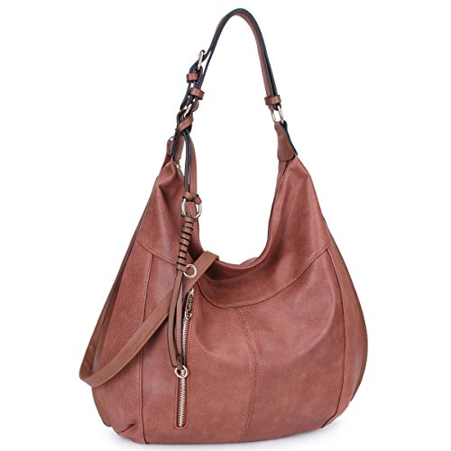 Dasein Womens Large Soft Hobo Bag Fashion Shoulder Bag Tote Purse (brown-new)