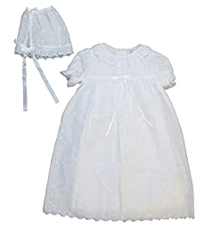 Eyelet Christening Baptism Gown with Ruffle at neck and Slip and Bonnet - 9 Month