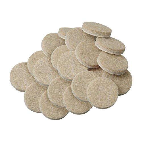 (TOOGOO(R) 20pcs Self-Stick 3/4 inch Furniture Felt Pads for Hard Surfaces - Oatmeal, Round)