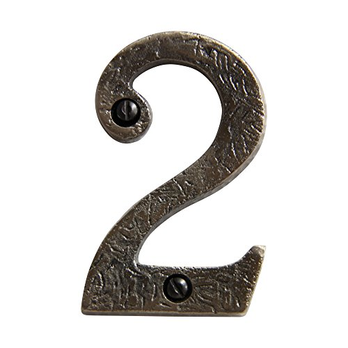 RCH Hardware 8322AN75 Decorative (75mm) Aged Finish Iron House Number Numeral (2), 3 Inch Tall, Antique - 2 Antique Numbers Address Nickel