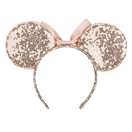 Cosplay Costume Mouse Ears Headband,Calar Sequin Mice Ears Headband Glitter Bow Headband for Boys and Girls Birthday Party Mom Baby Hairs Accessories Girl Headwear (Champagne)