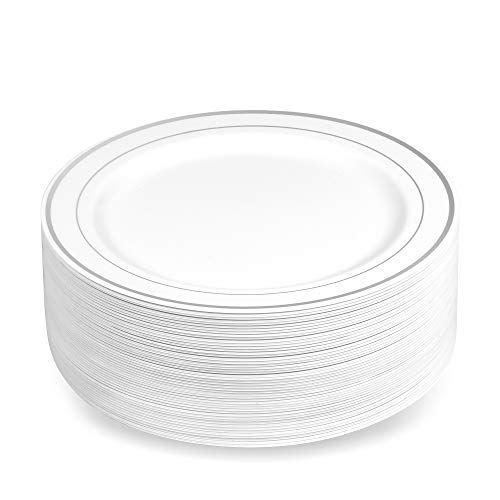 50 Plastic Disposable Dessert/Appetizer Plates | 7.5 inches White with Silver Rim Real China Look | Ideal for Weddings, Parties, Catering | Heavy Duty & Non Toxic (50-Pack) by - Inch Salad Diameter 7.5 Plate