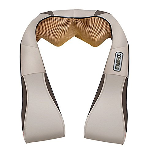 Neck Massager Car Home Dual-use Wireless Charging Kneading Shaw Multifunction Relieving Fatigue Massager Neck Shoulder, white ()