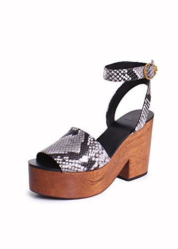 Tory Burch Camila Embossed Platform 100MM Wedge Sandals In Roccia Natural Size 9 (Snake Burch Tory)