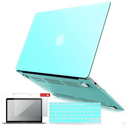 "iBenzer Basic Soft-Touch Series Plastic Hard Case, Keyboard Cover, Screen Protector for Apple Macbook Air 13-inch 13"" A1369/1466, Aqua"