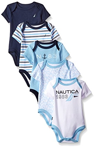 Nautica Baby Boys' Newborn Five-Pack Bodysuits, Assorted Light Blue, 0-3 Months (Nautica Newborn Boy Clothes)