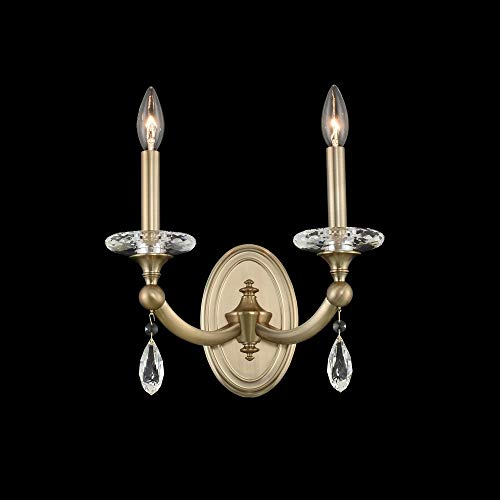 Firenze Gold Wall - Kalco 012122-045-FR001 Floridia - Two Light Wall Bracket, Matte Brushed Champagne Gold Finish with Firenze Clear Crystal