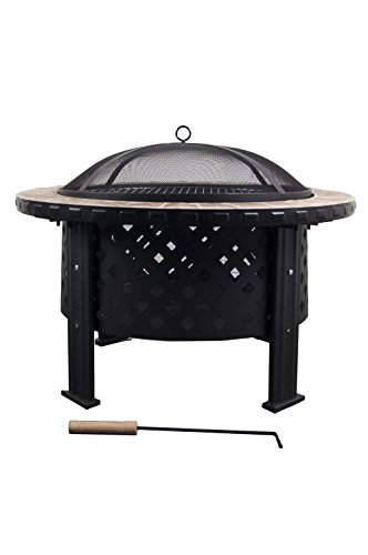 Astella 30″ Rd Wood Burning Fire Pit with Beige Ceramic Surround