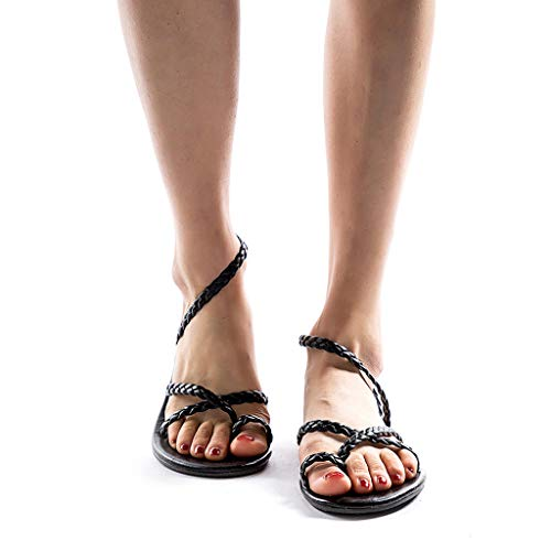 MILIMIEYIK Slippers, WoWomens Womens Stripe Flat Bath Summer Sandals Indoor Comfy Slip-On Sandalses Barefoot Water Shoes Black ()