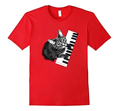 Piano Cat Tee Shirt-Music Lover Piano Tee- Cat Tshirt