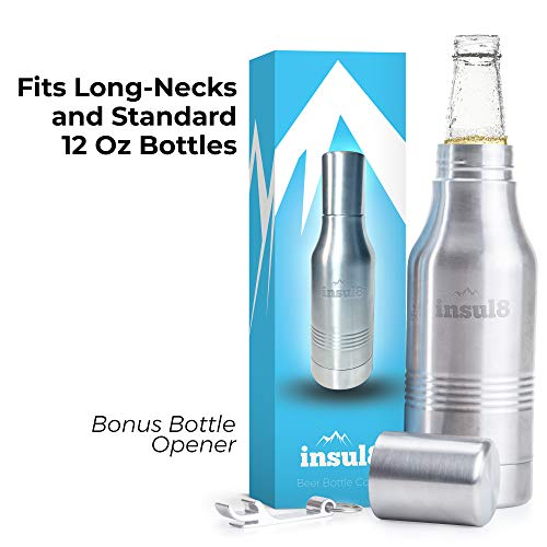The Original Insul8 Beer Bottle Cooler | Double Wall Insulated Beer Bottle Holder Stainless Steel Fits 12 oz. Standard and Long-Neck Bottles | Bonus Bottle Opener Keyring and Gift ()