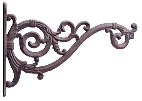 (Swooping Vine Plant Hanger Decorative Cast Iron Flower Basket Hook 13.75