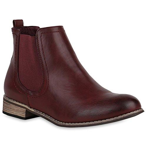 Stiefelparadies Damen Stiefeletten Glitzer Chelsea Boots Leder-Optik Blockabsatz Schuhe Knöchelhohe Stiefel Übergrößen Gr. 36-42 Flandell Dunkelrot Camargo