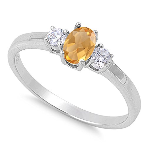 925 Sterling Silver Faceted Natural Genuine Yellow Citrine Oval Ring Size 7 ()