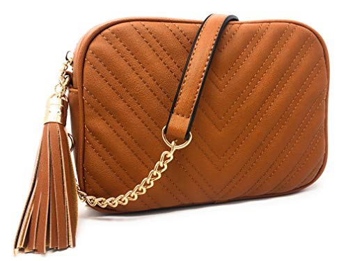 (lola mae fashion cross body bag quilted front pocket with tassel (Taupe))