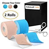 2 Pack Aollop Kinesiology Tape with Free Folding Scissor- Best Pain Relief Elastic Therapeutic Sports Tape for Muscle Joint,Plantar Fasciitis, Knee Shoulder,Waterproof,Latex Free,Uncut 2'' x 16.5 ft