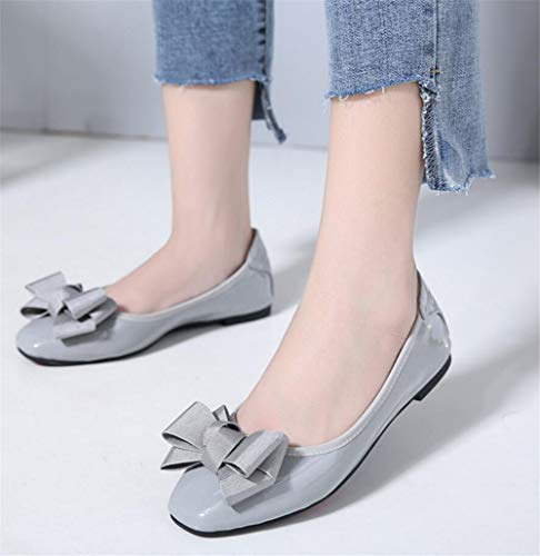 on Beige Hnm Gray Femme Pointure Cuir Casual Noir Plats Loafers Chaussures Chaussons Large De Soft Slip Ballet Mocassins Ballerines rhQdst