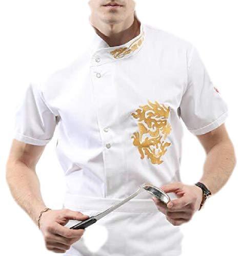 YYear Mens Lightweight Short Sleeve 1/2 Sleeve Hotel Chef Working Coat Jacket White S