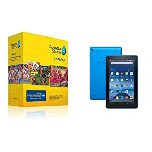 "Learn Spanish: Rosetta Stone Spanish (Latin America) - Level 1-5 Set with Fire Tablet with Alexa, 7"" Display, 16 GB, Blue"