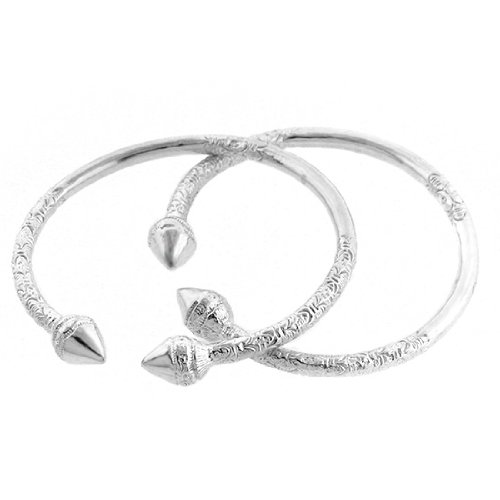 Spear .925 Sterling Silver West Indian Bangles (Pair) (MADE IN USA)