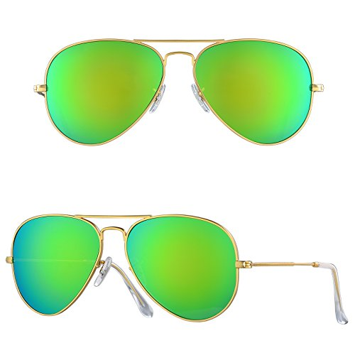 BNUS Corning natural glass lens New Pilot Sunglasses for women mens Italy made with Polarized Choices (Frame: Matte Gold/Lens: Green Flash, Non-Polarized) ()
