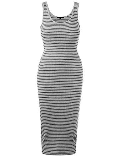 BEKDO Womens Line Stripe Rib Jersey Boat Neck Tank Top Midi Dress-S-H_Gray_Black (Stripe Subtle Top Jersey)