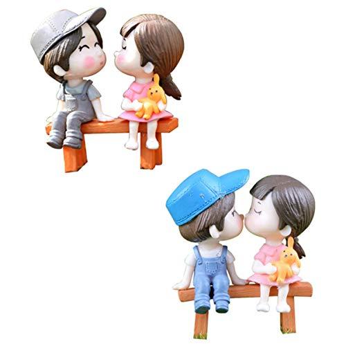 Fan-Ling 2 Set Cute Lovers Chair Miniature Landscape,DIY Home Garden Ornament,Doll Decor,Mini Craft Landscape Decoration,Creative Crafts,PVC Micro Landscape (C) (Terrarium Plant Lights)