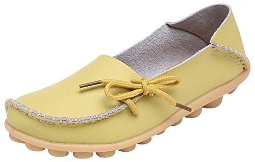 Serene Womens Light Yellow Leather Cowhide Casual Lace Up Flat Driving Shoes Boat Slip-On Loafers - Size 5.5