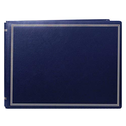 (Pioneer Photo Albums Pioneer Postbound Deluxe Boxed Navy Leatherette Magnetic Album with 2 Bonus Refill Packs)
