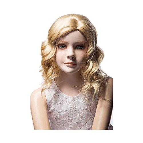 KOLIGHT 16'' Children Kids Girls Fashion Exquisiteness Cute Short Blonde Curly Hair Extensions Wig Free Cap+ -