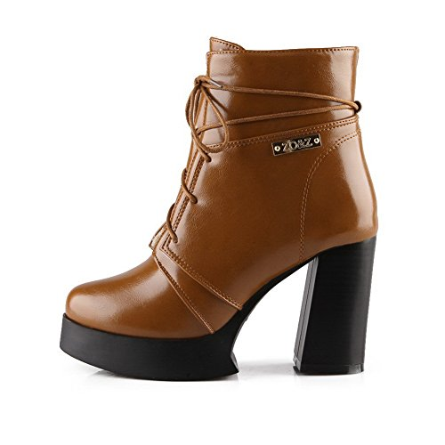 AdeeSu Girls Bandage Solid Casual Soft Material Boots Brown EFceygWkVQ