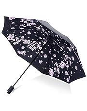 Paraguas Hombres Lluvia Mujer A Prueba de Viento Gran Estampado de Flores en 3D Soleado Anti-Sol 3 Paraguas Plegable al Aire Libre