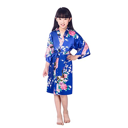 A-wind Girls' Satin Kimono Robe For Spa Party Wedding Birthday Royal Blue (Ravenclaw Quidditch Robes)