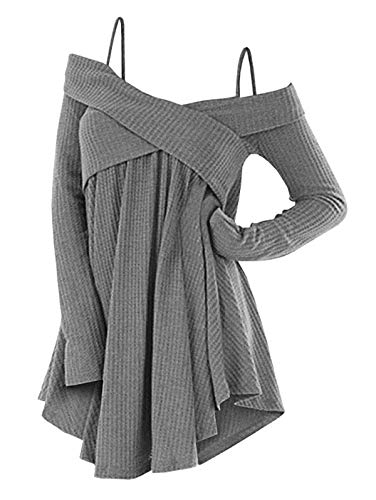 DressLily Cold Shoulder Crisscross Tunic Sweater Women Straps Long Sleeve Knitwear Pullover Shirt Tops Dark Gray L