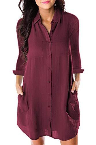 color Longues Taille FuweiEncore Longues T Manches Rouge Shirt Noir Manches avec Poche L Fw8qwUZW