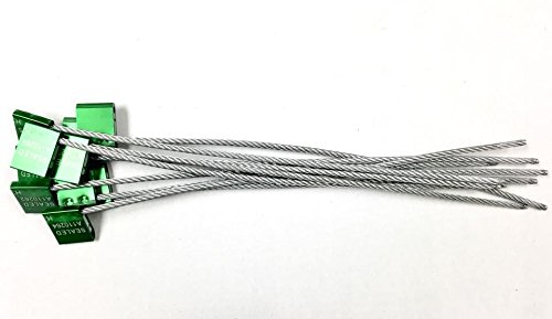 """14"""" length 1/5"""" inches thick 5mm Green Galvanized Steel Seals –Pull tight cable Seal -Truck Door Seals –Metal Seals –Strap Seals – – Same day Shipping (20 locks package)"""