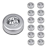 LEDINUS 12 Pack Tap Lights, LED Battery Operated Lights Stick On Touch Lamp Wireless Night Light for Closets, Cabinets, Counters, or Utility Rooms,Cordless Touch Light,Batteris Not Included