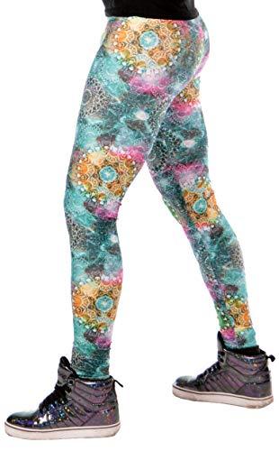 (Revolver Fashion Green Fractal Sacred Geometry Psychedelic Meggings USA Made Men's Leggings (Green Fractal, Small))