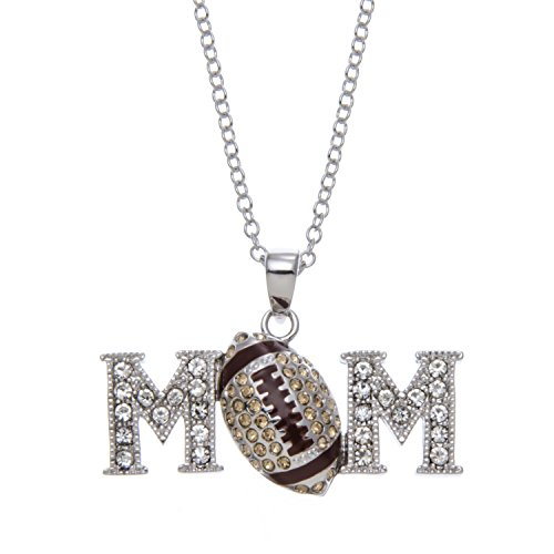 """PammyJ Football Jewelry - Brown and Crystal Football Mom Pendant Necklace - Gift For Mom, 17"""""""