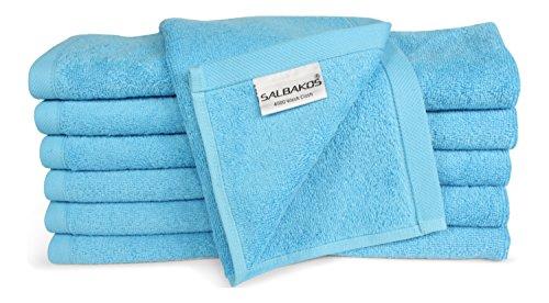 SALBAKOS Luxury Hotel & Spa Turkish Cotton 12-Piece Eco-Friendly Washcloth Set for Bath, Aqua