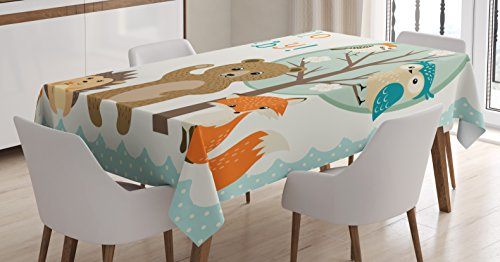 Lunarable Baby Shower Tablecloth, Woodland Animals Owl Bear Hedgehog Bee and Fox with Colorful Hello Baby Quote, Dining Room Kitchen Rectangular Table Cover, 60 W X 84 L inches, Multicolor by Lunarable