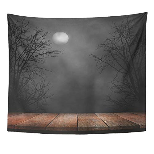 Emvency Tapestry Polyester Fabric Print Home Decor Forest Old Wood Table and Silhouette Dead Tree at Night for Halloween Creepy Wall Hanging Tapestry for Living Room Bedroom Dorm 50x60 -