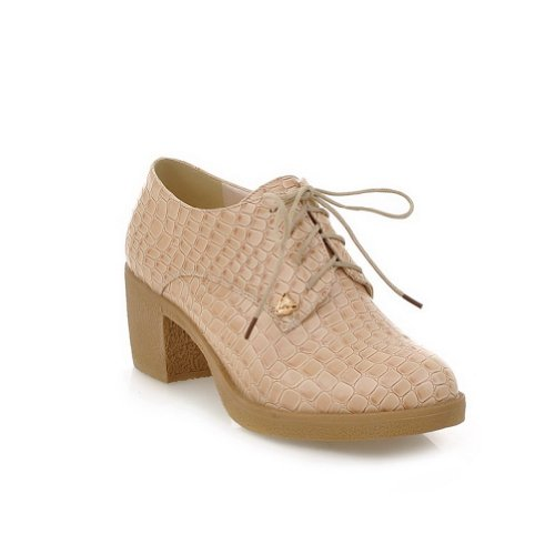 Square Heel whith 5 Low PU Pumps Apricot Bandage Toe Solid Women's WeenFashion M Round B 5 US Closed nxqXY6F