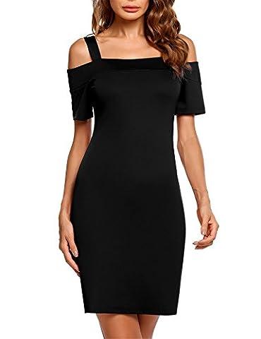 Zeagoo Women's Sexy Cold Shoulder Short Sleeve Slim Fit Bodycon Casual Dress Black L - Cocktail Dress Jacket