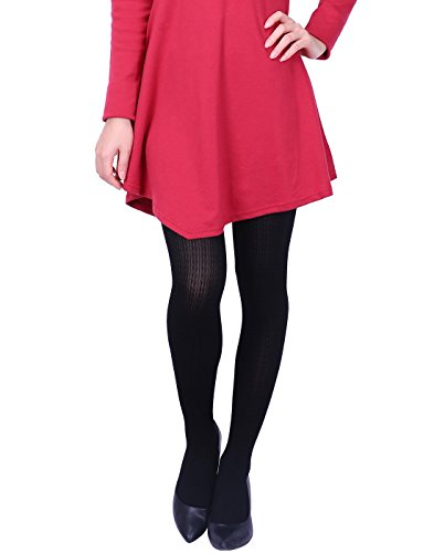 HDE Women's Knit Winter Tights Herringbone Textured Opaque Spandex Stockings (Black)