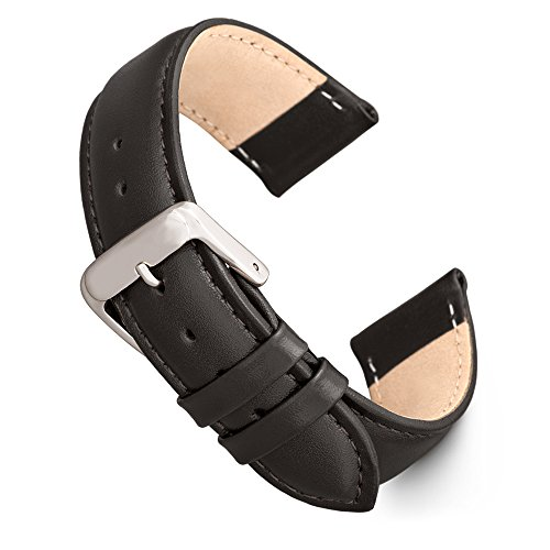 Speidel Genuine Leather Watch Band 24mm Black Calf Skin Replacement Strap, Stainless Steel Metal Buckle Clasp, Watchband Fits Most Watch Brands ()