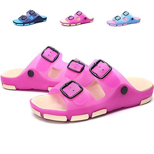 Lightweight Slip Sandals - Techcity Womens Slide Sandals Lightweight Non Slip Summer Shoes Pool Beach Shower Flat Slippers with Buckle (8.5-9 M, Rose Red)